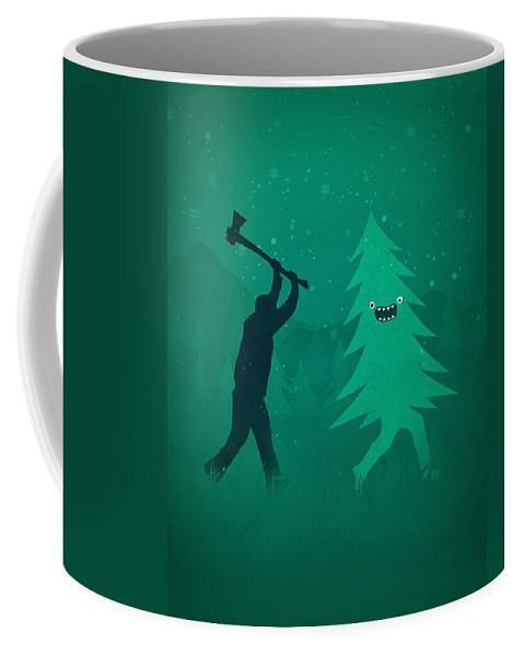 Cute Coffee Mug featuring the digital art Funny Cartoon Christmas tree is chased by Lumberjack Run Forrest Run by Philipp Rietz