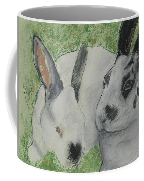 Bunny Coffee Mug featuring the drawing Fur Balls by Cori Solomon