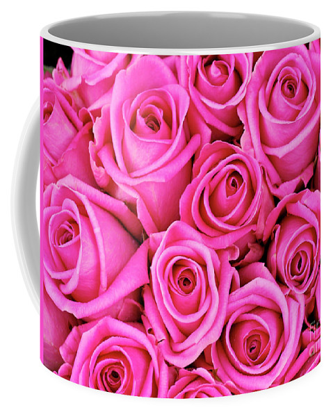 Backgrounds Coffee Mug featuring the photograph Fuschia Colored Roses by Bruce Block