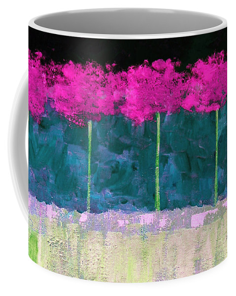 Abstract Coffee Mug featuring the painting Fuschia Trees by Ruth Palmer