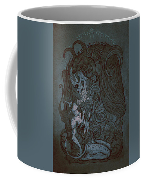 Demon Coffee Mug featuring the mixed media Fusion by Cambion Art