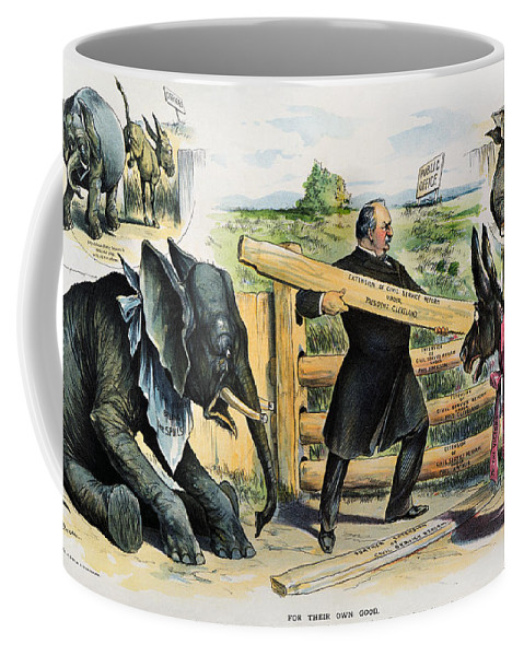 1895 Coffee Mug featuring the photograph G. Cleveland Cartoon, 1895 by Granger