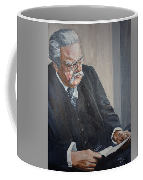 Chesterton Author Catholic Coffee Mug featuring the painting G K Chesterton by Bryan Bustard