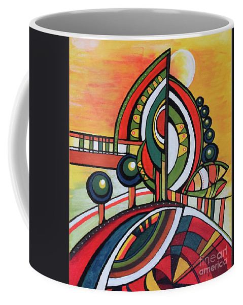 Original Painting Coffee Mug featuring the painting Gaia's Dream by Aniko Hencz