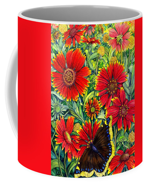 Butterfly Coffee Mug featuring the painting Gaillardia by Catherine G McElroy