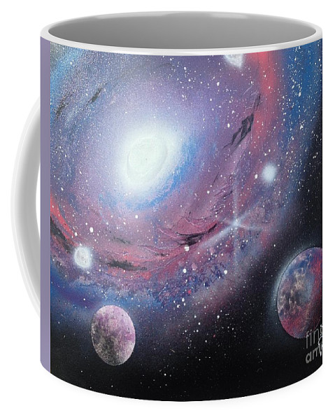 Galaxy Coffee Mug featuring the painting Galaxy by Tyler Haddox