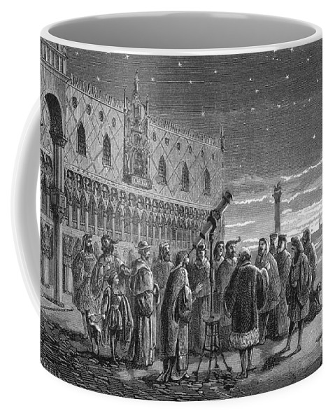 Science Coffee Mug featuring the photograph Galileo Demonstrates Telescope, 1609 by Science Source