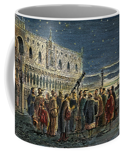 1609 Coffee Mug featuring the drawing Galileo Galilei, 1564-1642 by Granger