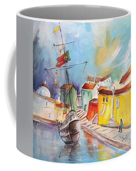 Portugal Coffee Mug featuring the painting Gallion In Vila Do Conde by Miki De Goodaboom