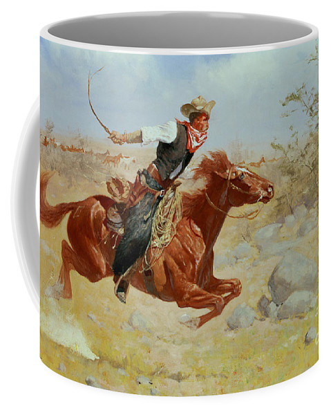 Galloping Horseman Coffee Mug featuring the painting Galloping Horseman by Frederic Remington