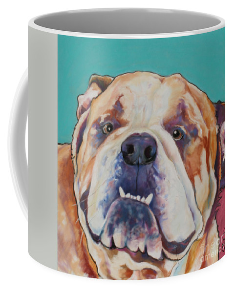 Pat Saunders-white Pet Portraits Coffee Mug featuring the painting Game Face  by Pat Saunders-White