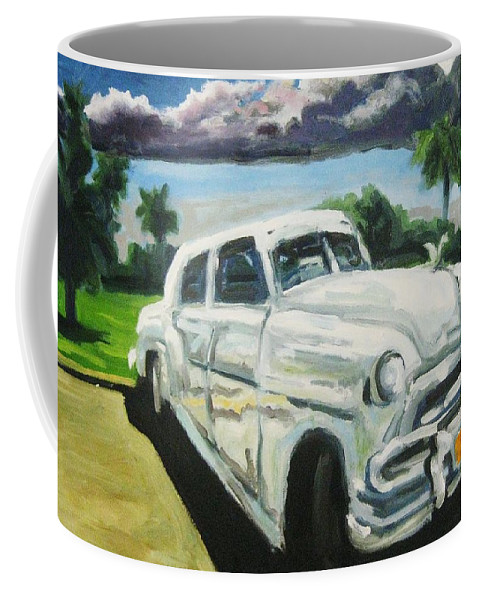 Old Cars Coffee Mug featuring the painting Gangsters On Vacation by John Malone