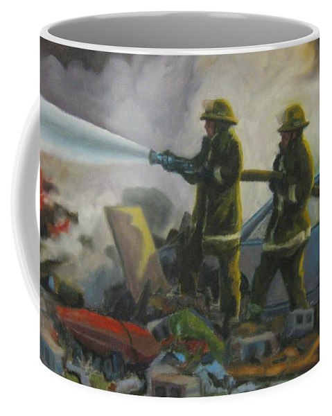 Firefighters Coffee Mug featuring the painting Garage Fire by John Malone