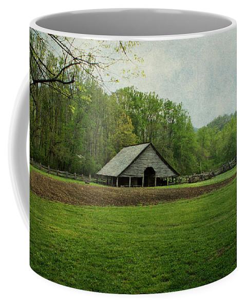 Barn Coffee Mug featuring the photograph Garden And Barn by Sandy Keeton