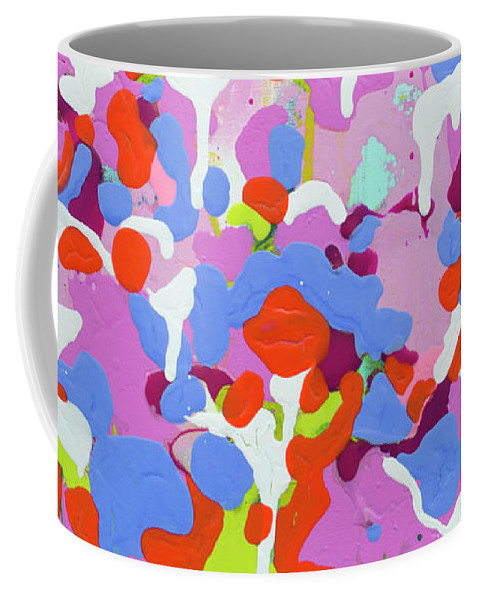 Abstract Coffee Mug featuring the painting Garden Camo by Claire Desjardins
