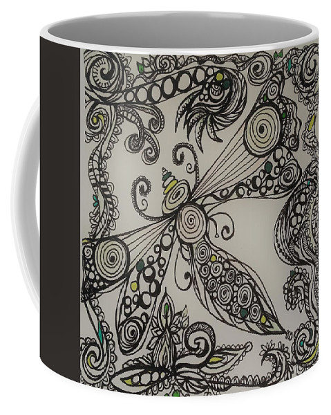 Coffee Mug featuring the drawing Garden Dreams by Jan Pellizzer