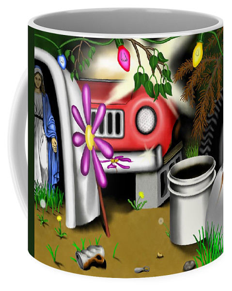 Surrealism Coffee Mug featuring the digital art Garden Landscape I - Into The Trailorpark by Robert Morin