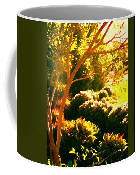 Landscapes Coffee Mug featuring the painting Garden Landscape On A Sunny Day by Amy Vangsgard