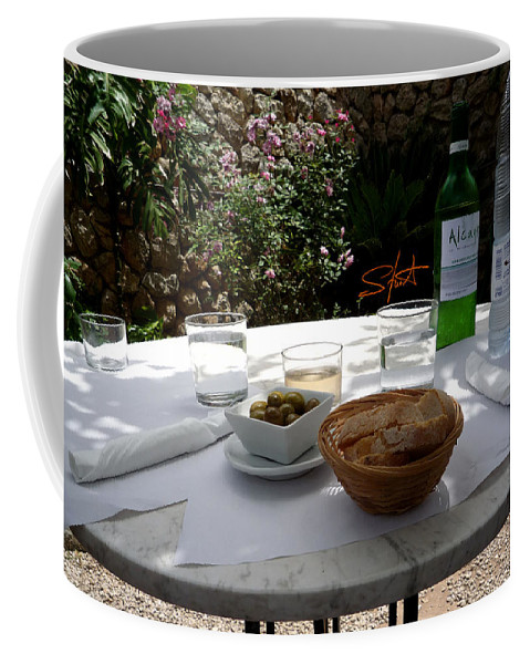 Lunch Coffee Mug featuring the photograph Garden Lunch Mallorca by Charles Stuart