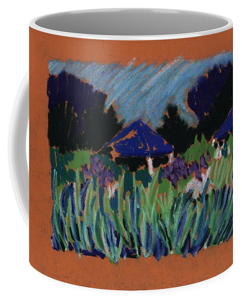 Iris Coffee Mug featuring the pastel Garden Party by Rodger Ellingson