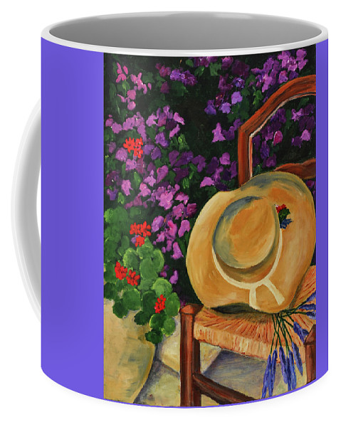 Garden Coffee Mug featuring the painting Garden Scene by Elise Palmigiani