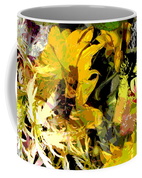 Abstract Coffee Mug featuring the mixed media Garden Variety Cat by Ruth Palmer