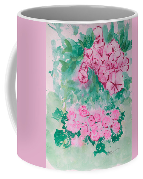 Impressionism Coffee Mug featuring the painting Garden With Pink Flowers by J R Seymour