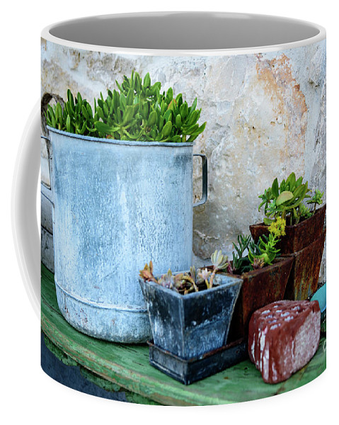 Primosten Coffee Mug featuring the photograph Gardening Pots And Small Shovel Against Stone Wall In Primosten, Croatia by Global Light Photography - Nicole Leffer