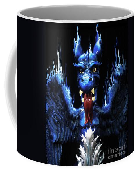 Blue Coffee Mug featuring the photograph Gargoyle by Jim And Emily Bush