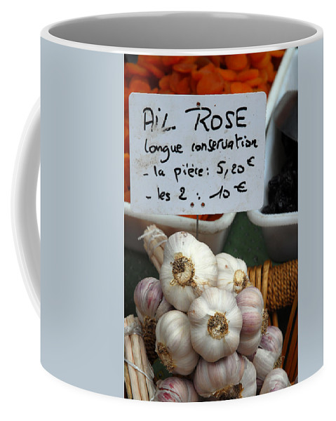Provence Coffee Mug featuring the photograph Garlic And Dried Apricots For Sale by Anne Keiser