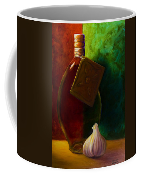 Shannon Grissom Coffee Mug featuring the painting Garlic And Oil by Shannon Grissom