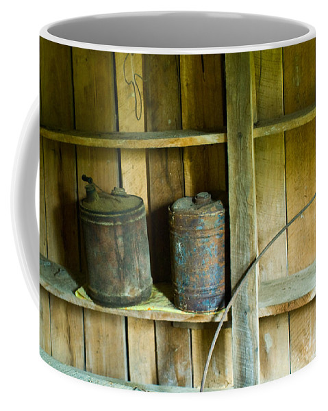 Gas Coffee Mug featuring the photograph Gas Cans Long Forgotten by Douglas Barnett