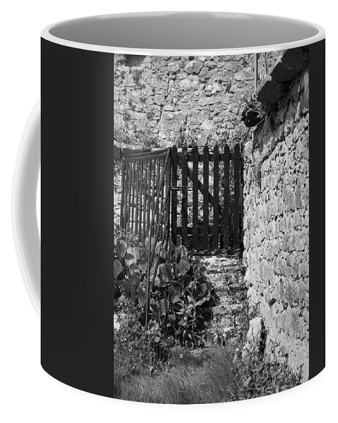Irish Coffee Mug featuring the photograph Gate At Dunguaire Castle Kinvara Ireland by Teresa Mucha