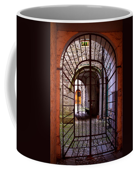 Gate Coffee Mug featuring the photograph Gated Passage by Tim Nyberg