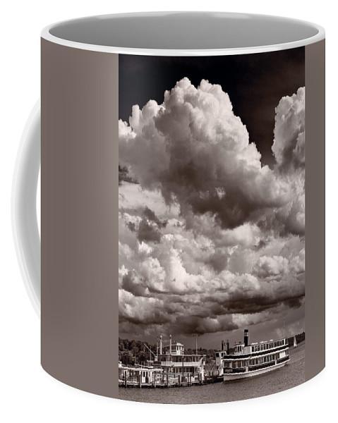 Lake Coffee Mug featuring the photograph Gathering Clouds Over Lake Geneva Bw by Steve Gadomski