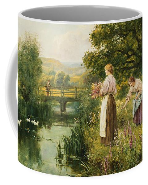 Gathering Spring Flowers Coffee Mug featuring the painting Gathering Spring Flowers by Henry John Yeend King