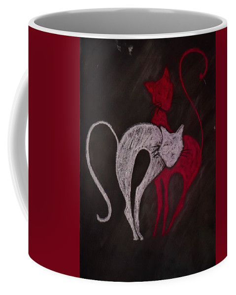 Cat Coffee Mug featuring the painting Gato De Rojo by Robert Beutel