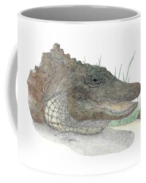 Gator Coffee Mug featuring the drawing Gator by David Weaver