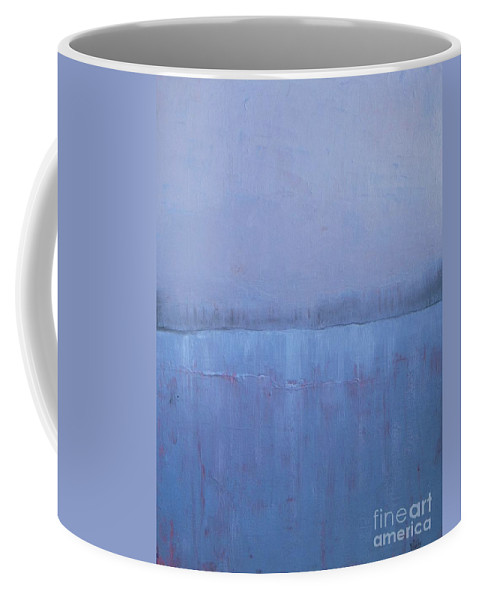 Abstract Landscape Coffee Mug featuring the painting Gauzy Lake by Vesna Antic