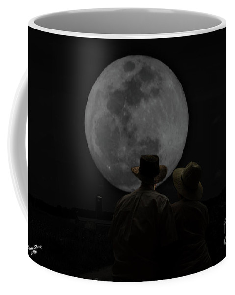 Moon Coffee Mug featuring the photograph Gazing At The Moon by Aaron Shortt