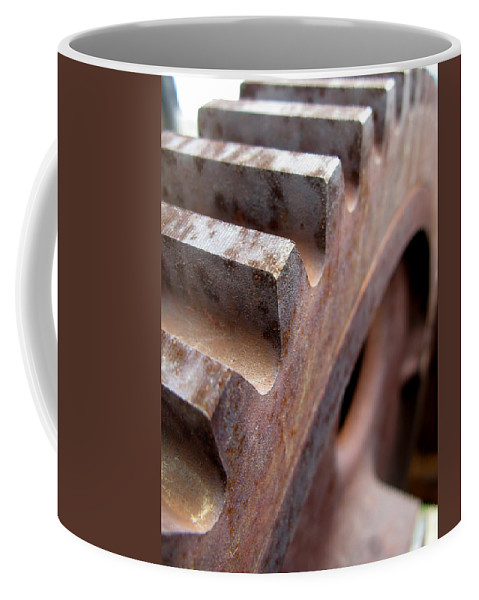 Rust Coffee Mug featuring the photograph Gear by Jeffery Ball