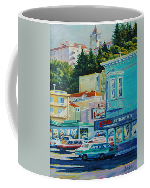 Cityscape Coffee Mug featuring the painting Geary Street by Rick Nederlof