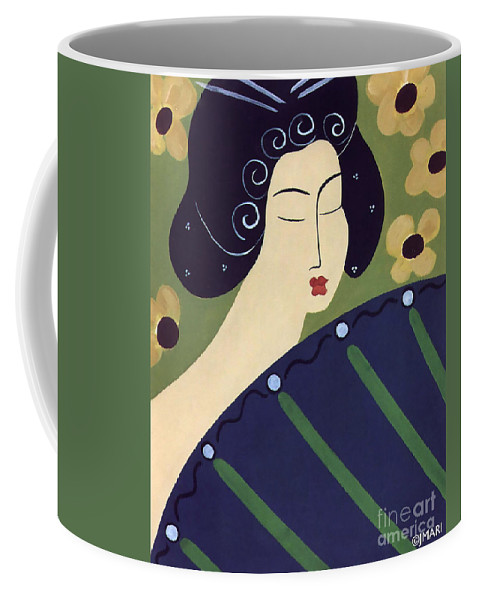 #japanese Coffee Mug featuring the painting Geisha Doll by Jacquelinemari