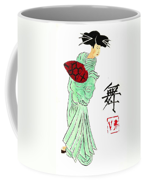 China Coffee Mug featuring the painting Geisha Girl Dancing by Michael Vigliotti