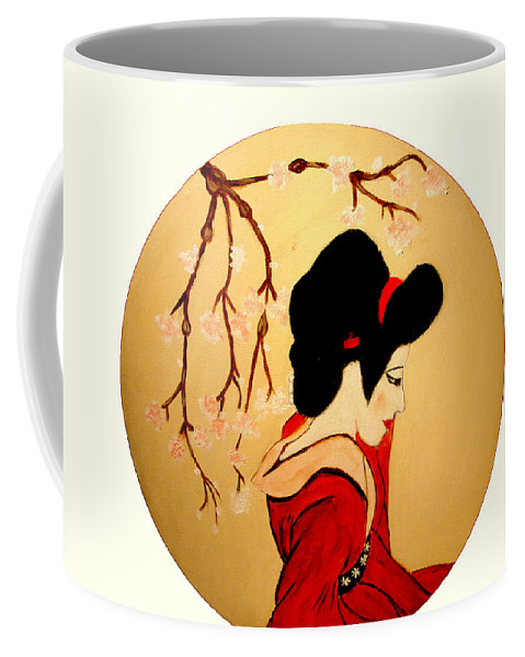 Geisha Girls Coffee Mug featuring the painting Geisha Girl by Rusty Gladdish