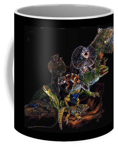 Lizards Coffee Mug featuring the drawing Gems And Jewels by Barbara Keith