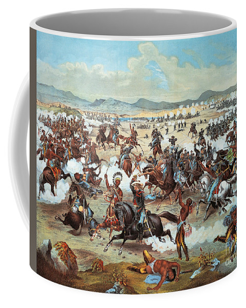 Little Bighorn Coffee Mug featuring the painting General Custer's Last Stand At Battle Of Little Bighorn, June 25, 1876 by Feodor Fuchs