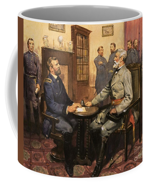 General Grant Meets Robert E. Lee By English School (20th Century) Great Commanders: Hero Of The Southland. General Grant Meets Robert E. Lee. America; Army; Soldiers; American; Flag; American Civil War; Robert E Lee; General Grant; Surrender; Confederate; Union; Us Coffee Mug featuring the painting General Grant Meets Robert E Lee by English School