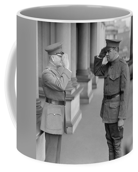 General Pershing Coffee Mug featuring the photograph General John Pershing Saluting Babe Ruth by War Is Hell Store