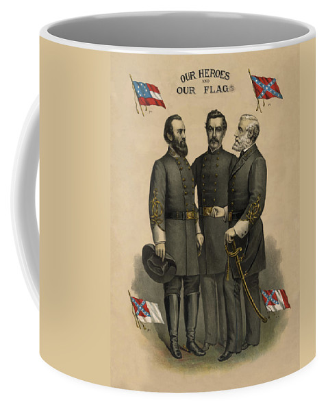 Confederate Coffee Mug featuring the painting Generals Jackson Beauregard And Lee by War Is Hell Store
